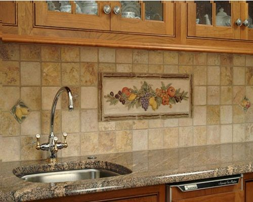 Ceramic Tile Backsplash For Kitchen Countertop Sink And Faucet