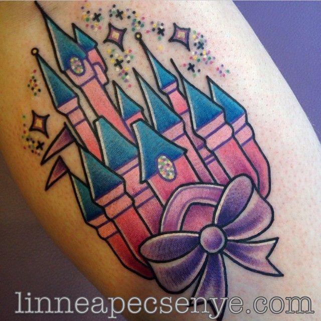 Awesome Disney Castle tattoo by @linneatattoos! #Disneyland #Disneyworld…