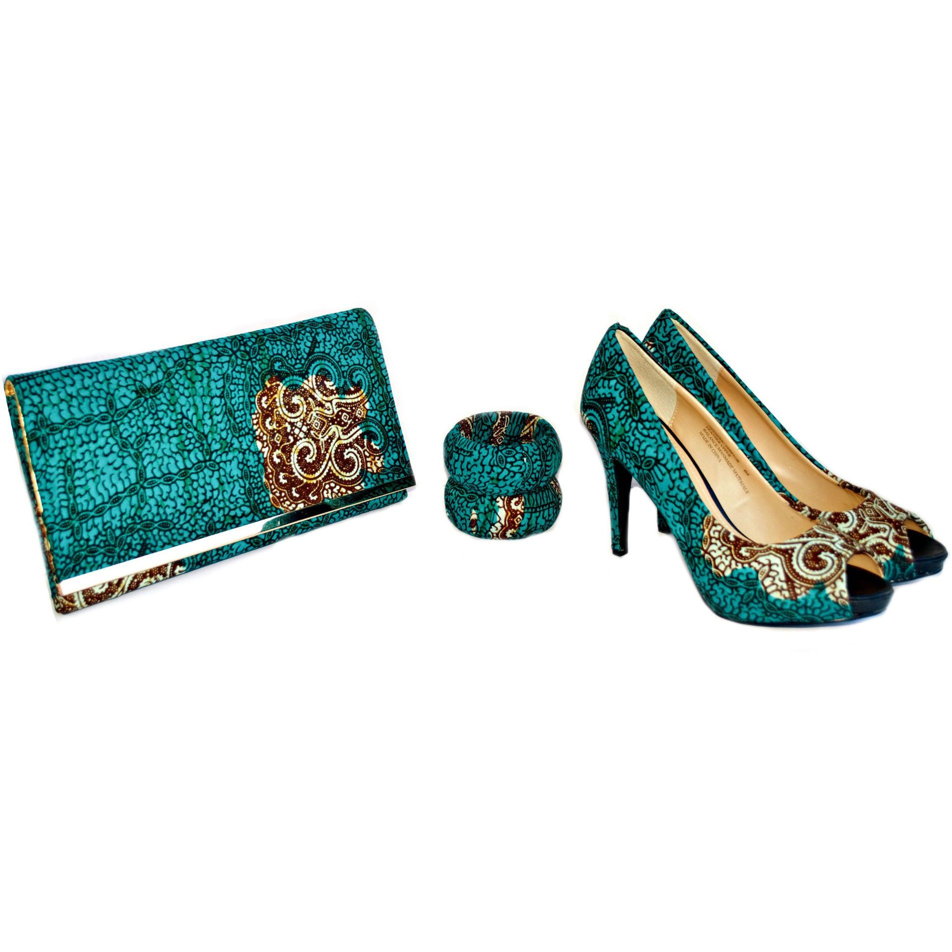 DELLY Peep Toes Shoes And Bag Set
