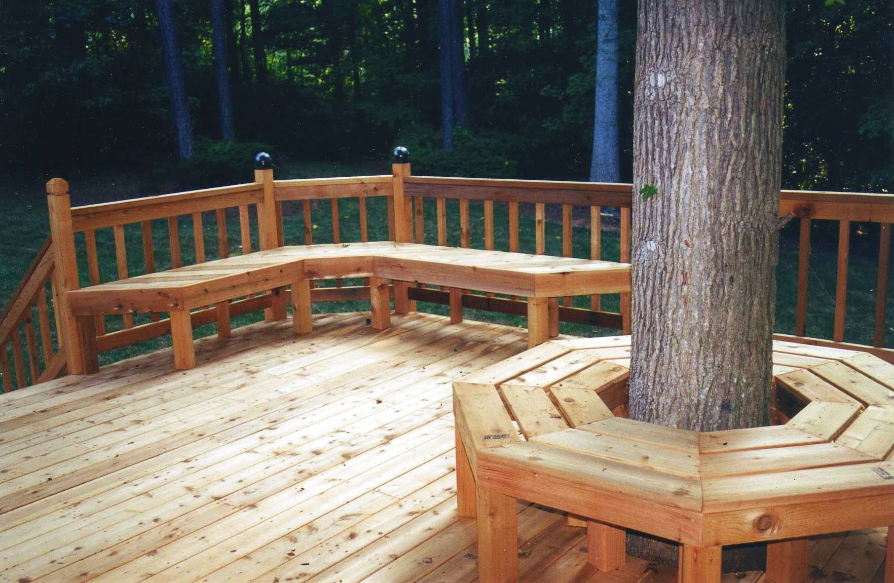 Pictures Of Sundecks Stairs And Benches: Very Nice Deck And Benches Built Around A Tree.