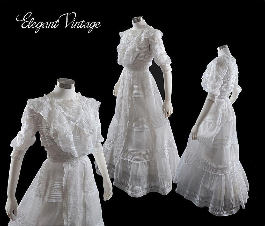 C 1900 Tea Gown Victorian Wedding Dress Vintage Gowns Edwardian Dress [ 874 x 1024 Pixel ]