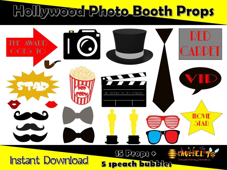 27 Pc Hollywood Photo Booth Collection Movie Photobooth Props
