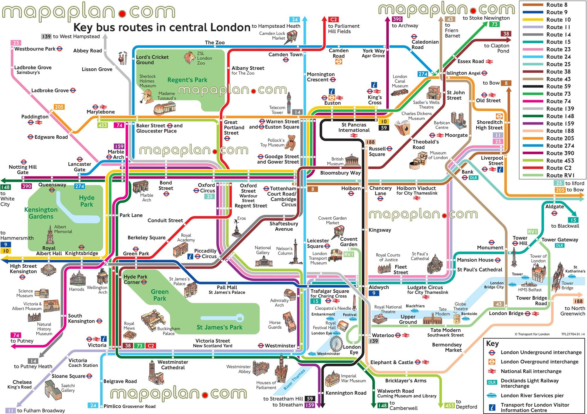 map bus route network main tourist attractions central ...