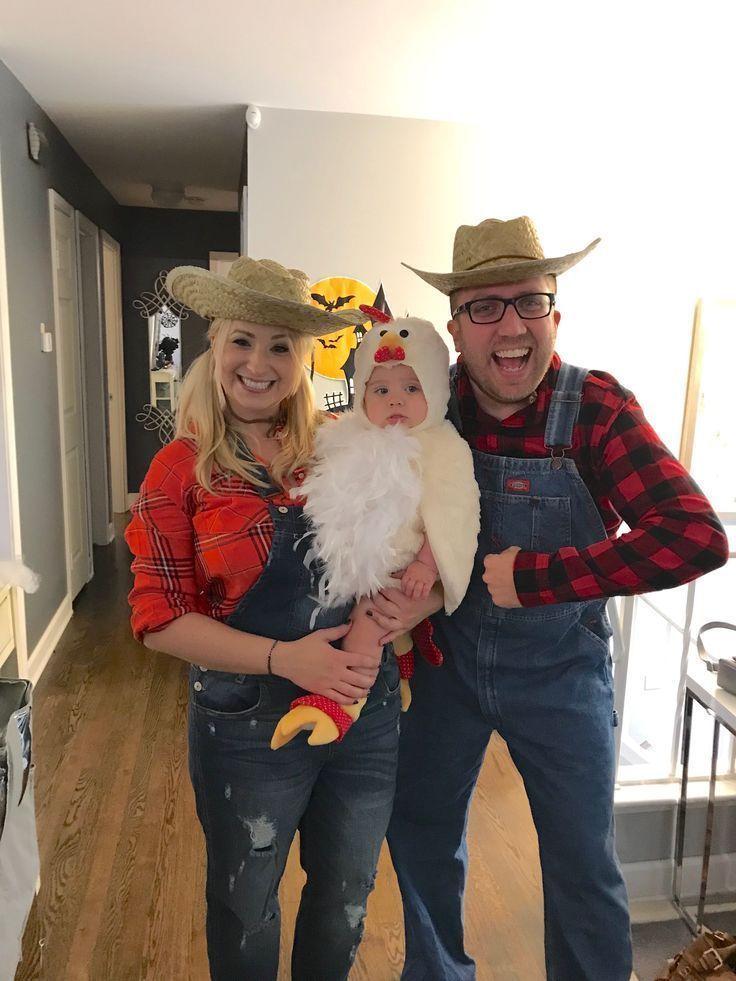 Halloweenkostüm. Kleinkind Hühnchen Kostüm, Eltern als Bauer ...- Halloweenkostü ... - #halloweencostumestoddlers #bffhalloweencostumes