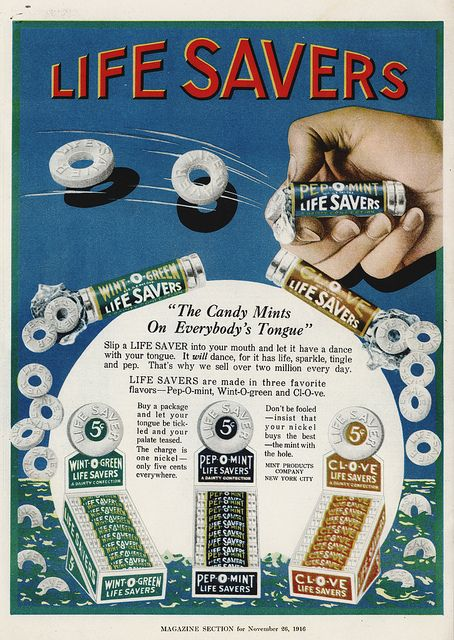 Life Savers - Candy Mints on Everybody's Tongue - magazine ad - 1916 by JasonLiebig, via Flickr