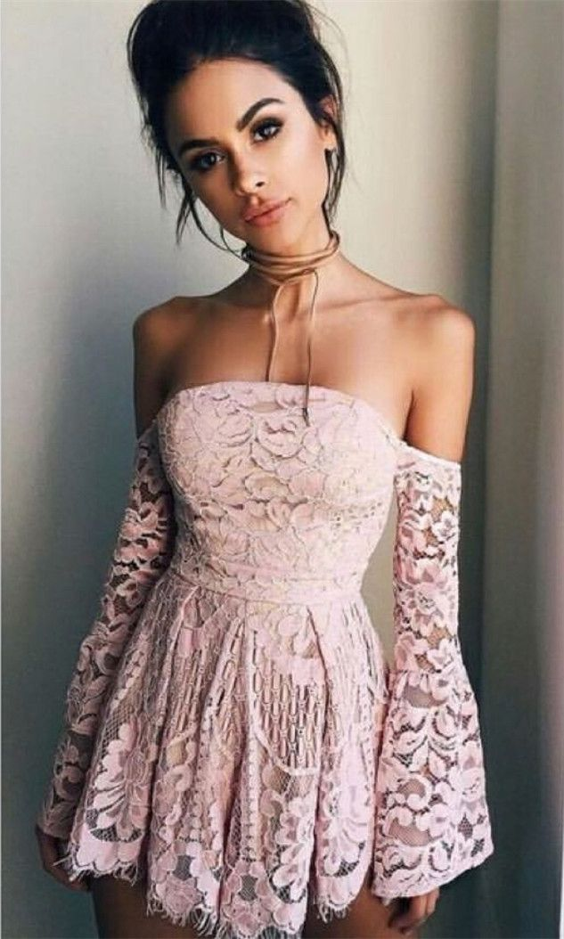 2a877e7a6d1 Cute Pink Lace Off the Shoulder Long Sleeve Dress