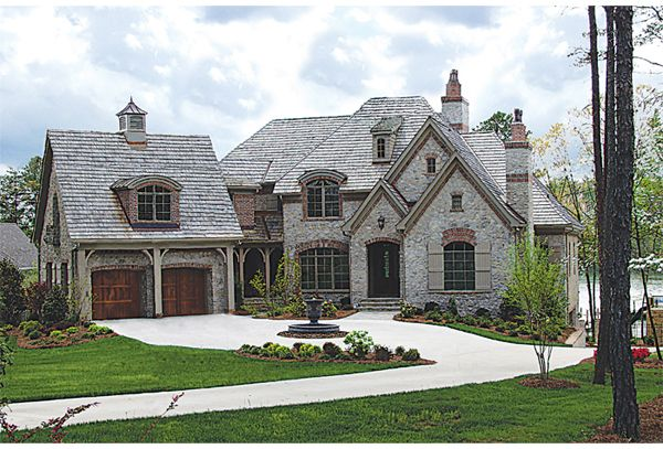 Natural Stone Veneer With Brick Accents Sets The Tone For The Warmth Of  This French Country House Plan// Love The Shape. Not A Fan Of The Grey  Stone.