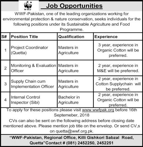 WWF Pakistan Jobs For Project Coordinator, Monitoring And Evaluation