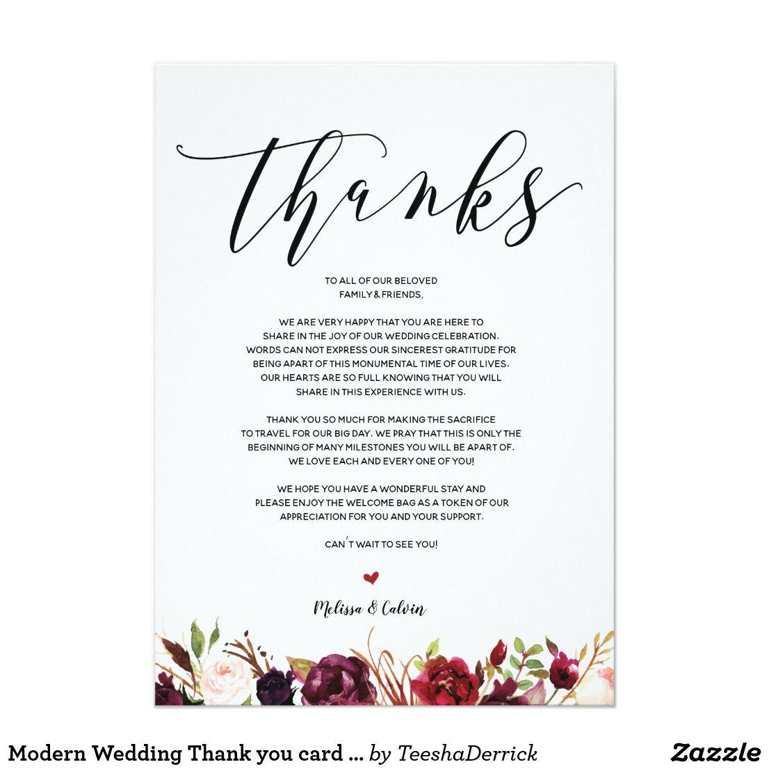 Modern Wedding Thank You Card V1 Zazzle Com Wedding Thank You
