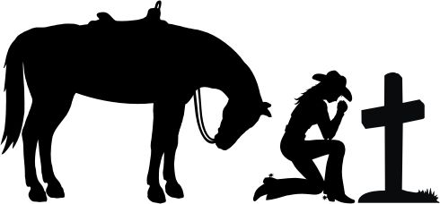 Cowboy kneeling at cross cowgirl kneeling at cross car for Cowboy silhouette tattoo