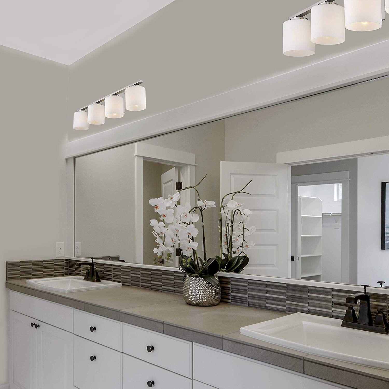 Amazon Com Emliviar 4 Light Bathroom Vanity Light Fixture Brushed Nickel Finish Wit Light Fixtures Bathroom Vanity Bathroom Vanity Lighting Bathroom Lighting White bathroom light fixtures