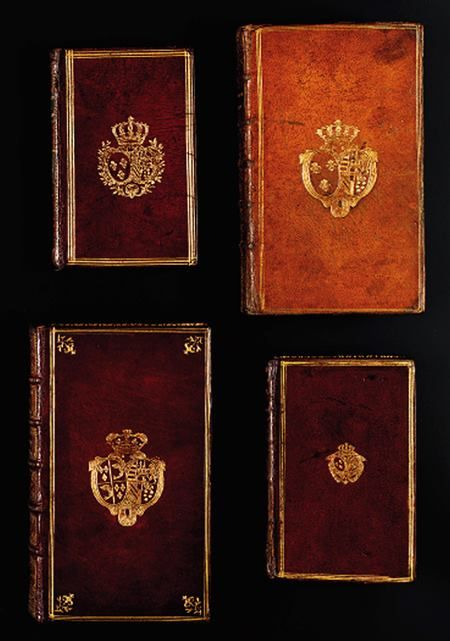 Beautiful Morrocan leather bound Books that once belonged to Marie Antoinette. The Latin and French books are bound in citron moroccan leather and have triple gilt fillet borders. The covers are stamped with Marie Antoinette's coat of arms.
