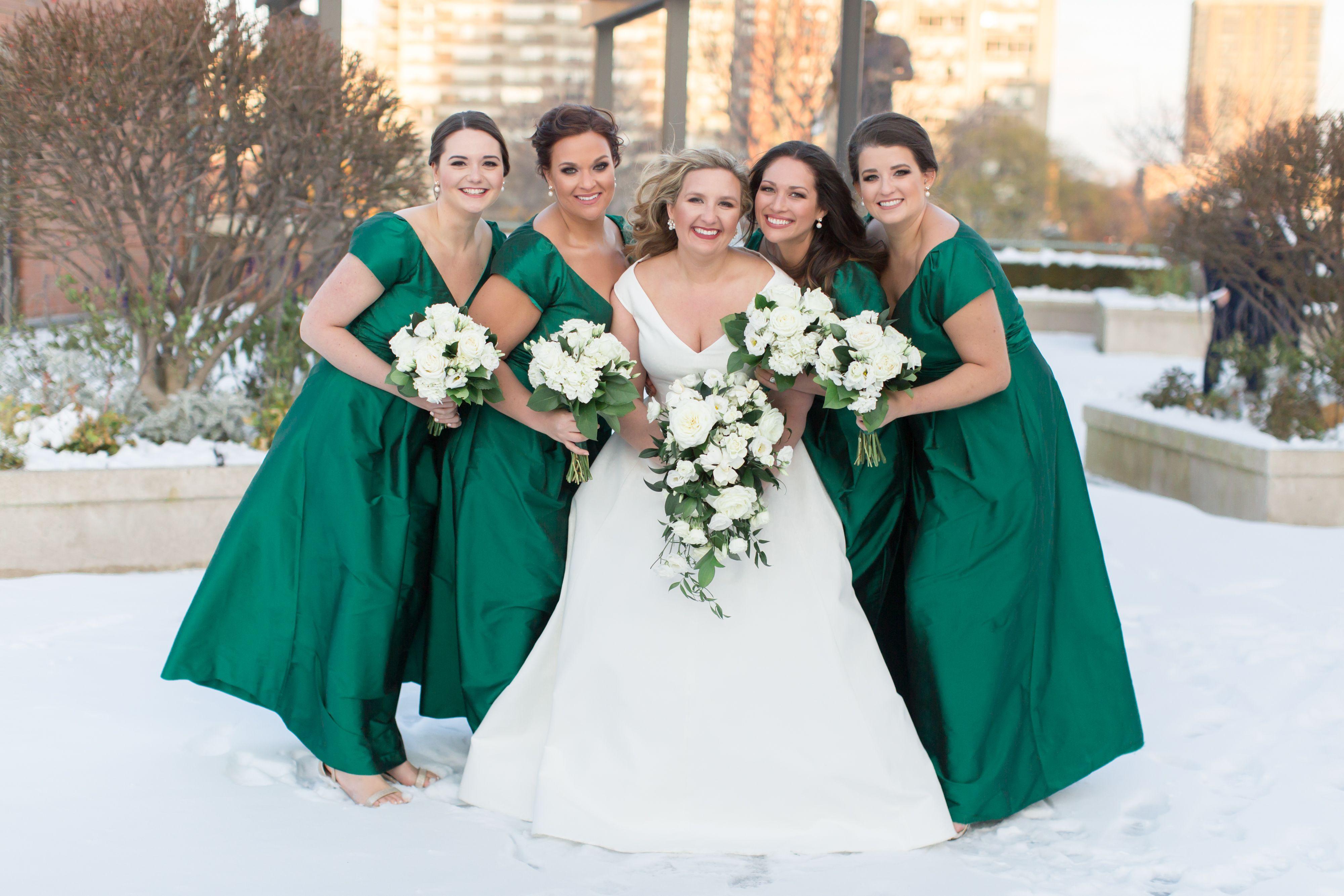 Downtown Milwaukee Winter Wedding Long Green Bridesmaid Dresses By Bella Bridesmaid Green Bridesmaid Dresses Bridesmaid Dresses Long Green Bridesmaid Dresses