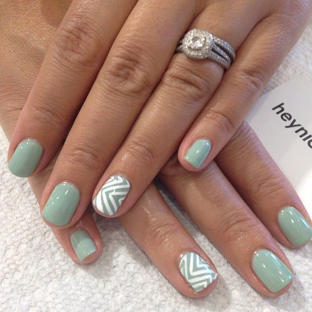 I want these nails for my wedding day maybe in pink and gray nail art design by hey nice nails mint nails with white chevron stripes on accent nails love the ring too prinsesfo Choice Image