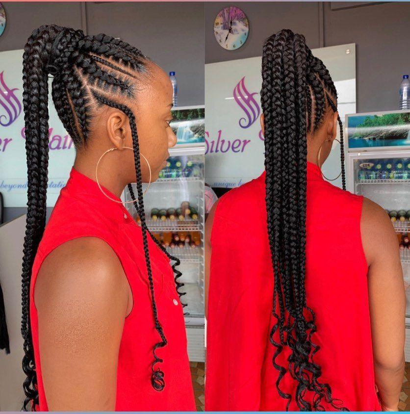 2020 Ghana Weaving Shuku Braids Braidstyles Feedinbraids Neatbraids Ponytailweave Feedinponytail Hair Styles Braided Hairstyles Weave Ponytail Hairstyles