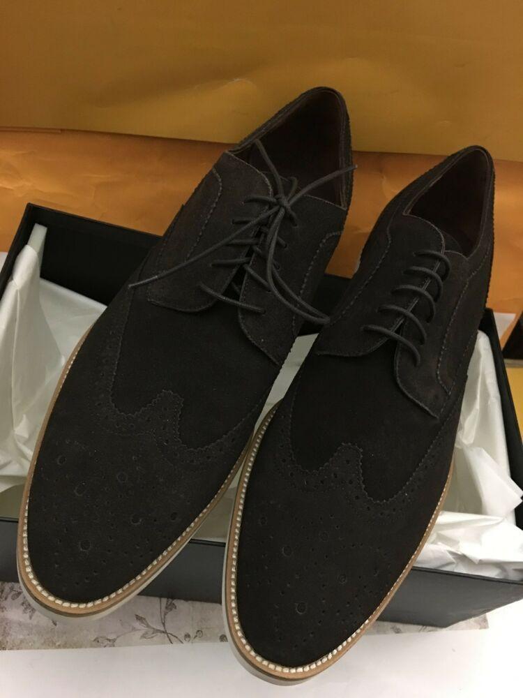 eeb2d982698 Hugo Boss Men's Fashion Oxfords Cortios Dark Brown Suede Shoes US13 - Dress Shoes  Men #