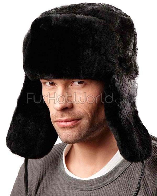 Black Mouton Sheepskin Full Fur Russian Hat for Men in 2019  8331376c81f7