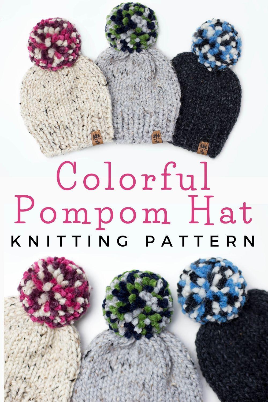 Colorful Pompom Hat Chunky Knitting Pattern