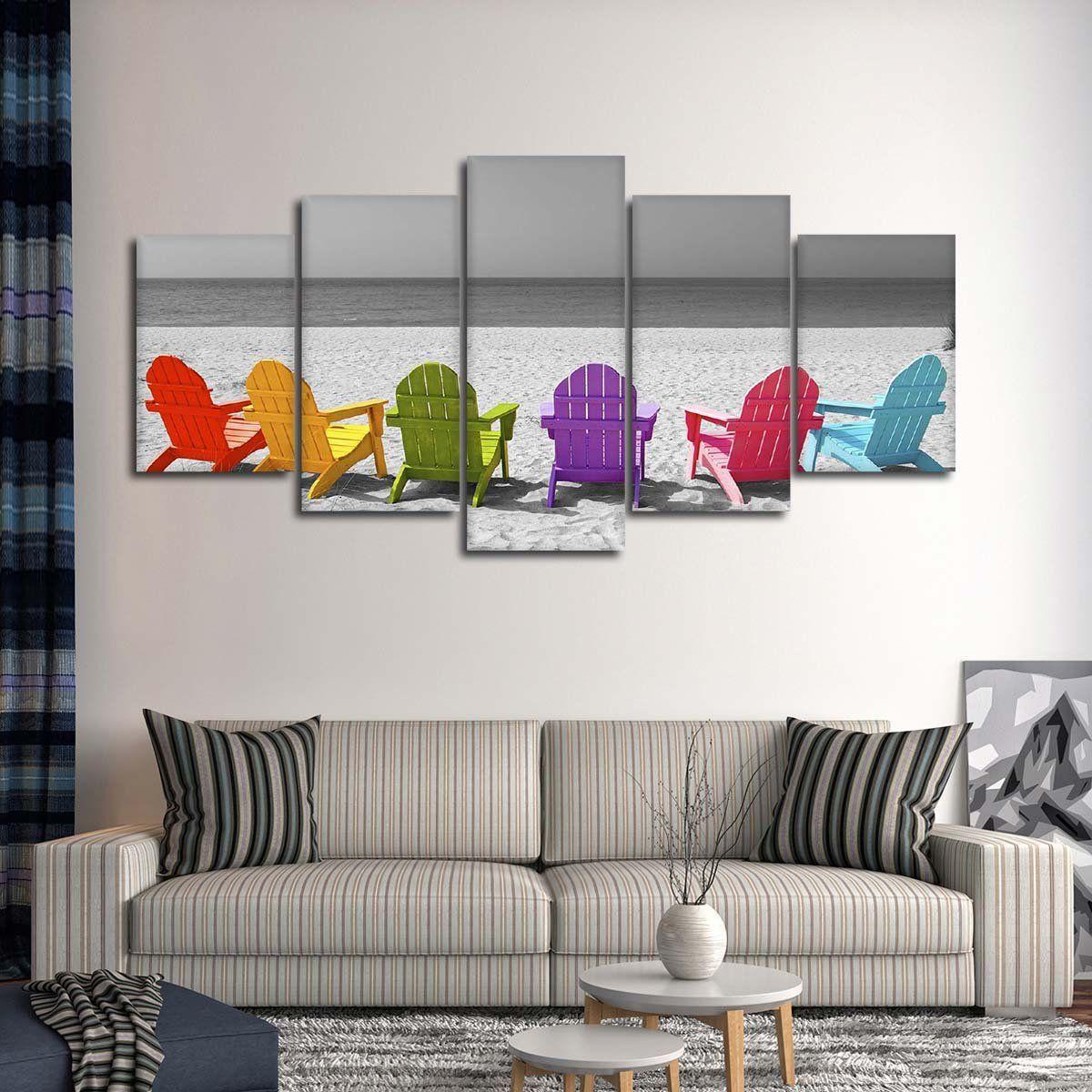 Beach Chairs Pop Multi Panel Canvas Wall Art Canvas Wall Art