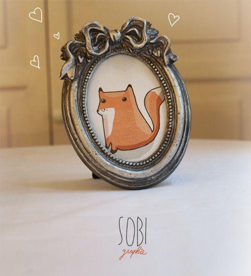 Vintage cute fox picture
