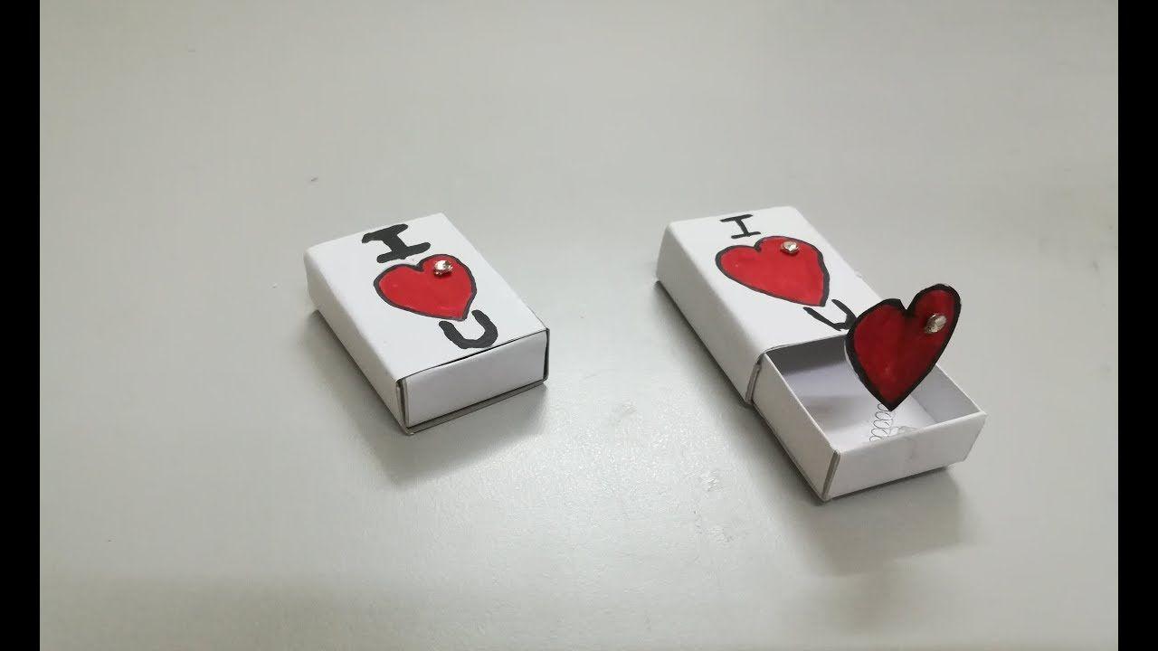 عمل هدية جميلة بعلبة الكبريت صنع هدايا بعلبة الكبريت اشغال يدوية Matchbox Crafts Diy Valentines Cards Birthday Cards Diy