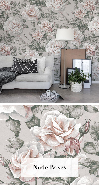 Nude Roses In 2019 Tapetenkollektion Bouquet Wallpaper Room Und