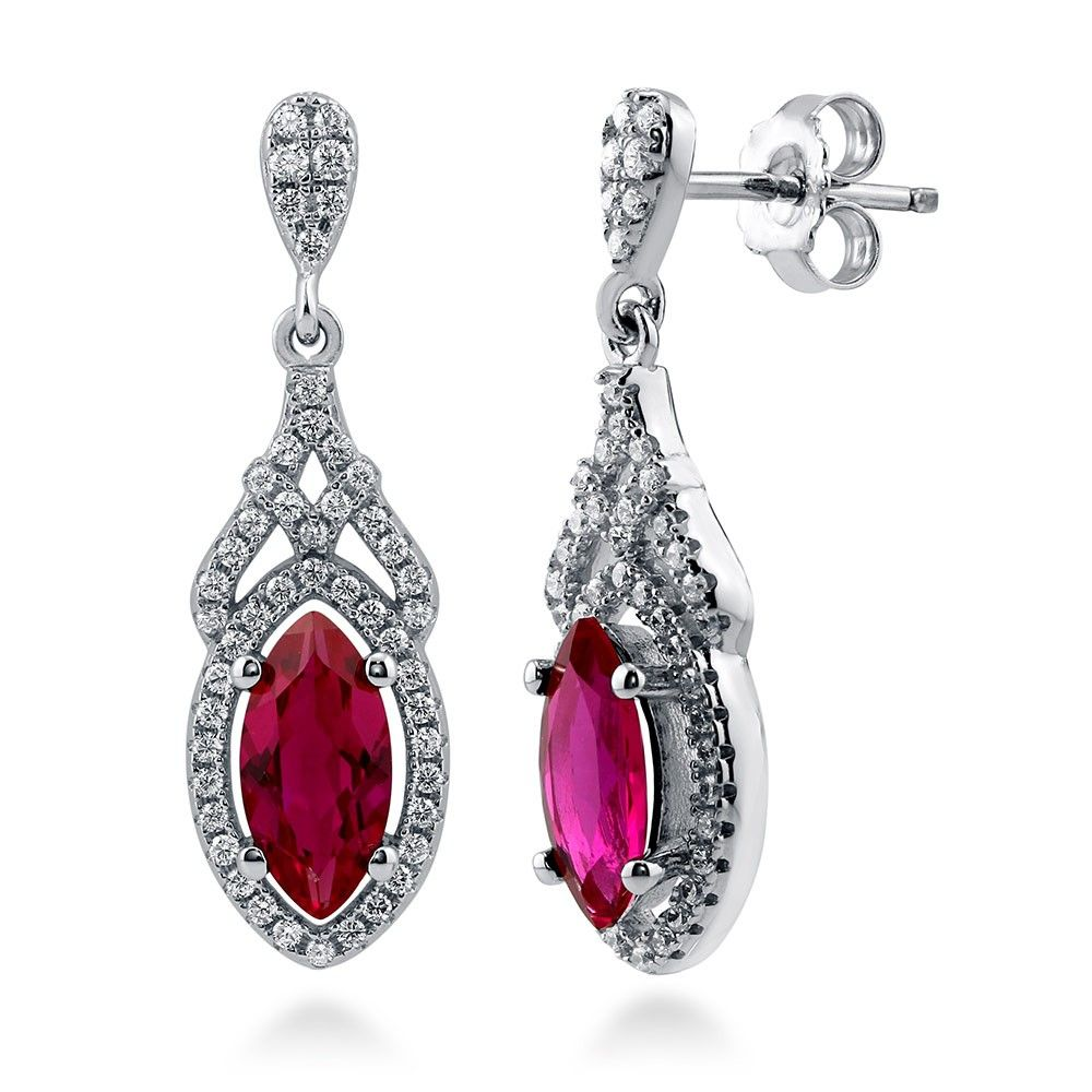 Sterling Silver Marquise Simulated Ruby Cz Art Deco Halo