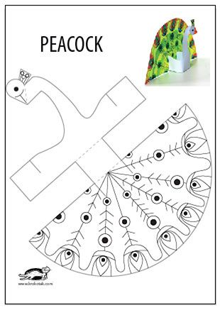 photo about Printable Crafts for Kids named Glue-fewer printable PEACOCK instruction Pea crafts