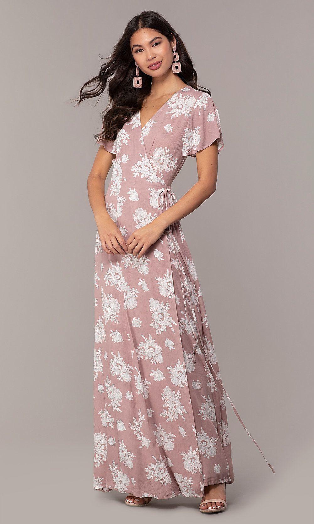 Short Sleeve Print Long Wrap Wedding Guest Dress Dresses Long Wrap Dress Pink Long Dress