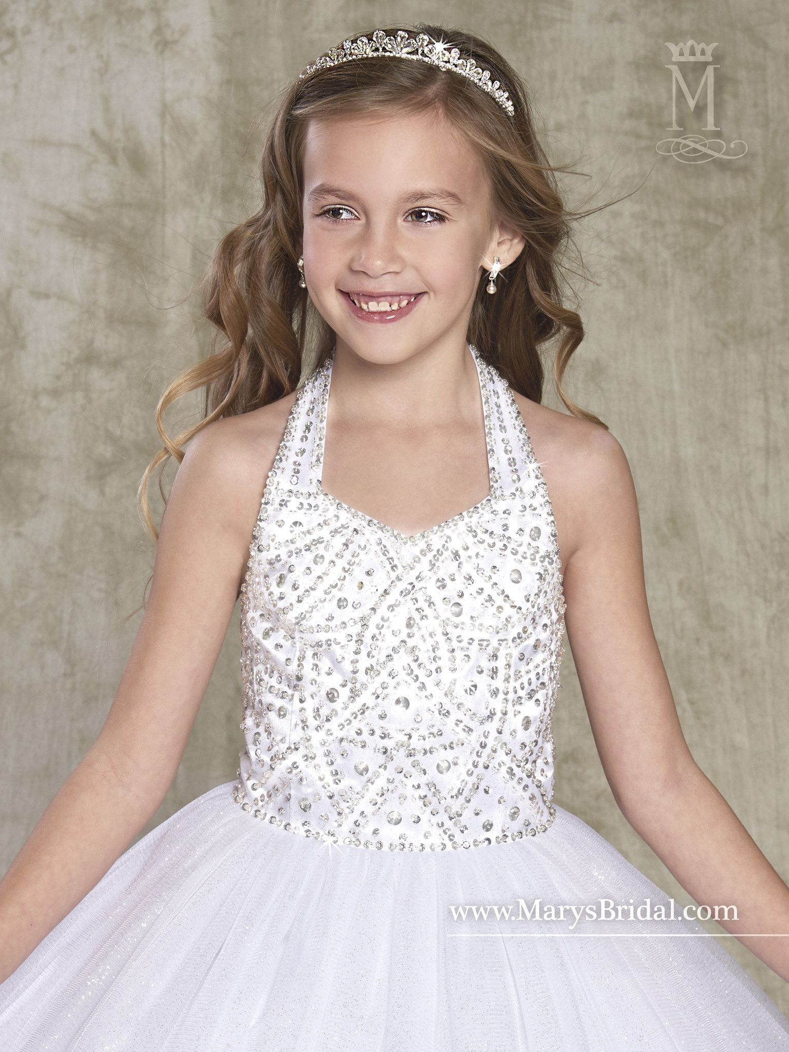 Girls beaded halter sparkling tulle dress by maryus bridal tulle