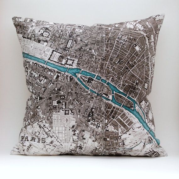Ready to Ship  PARIS Vintage Map Pillow Made to Order by saltlabs, $49.00