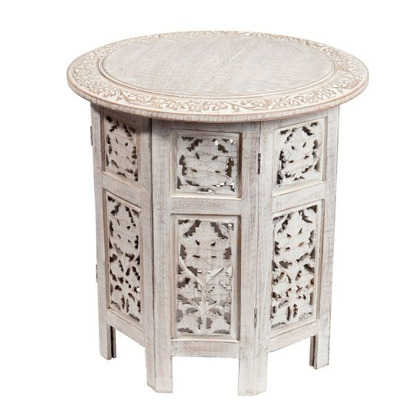 Mesa Auxiliar Tallada De Madera Blanca An 46 Cm Home Side Table