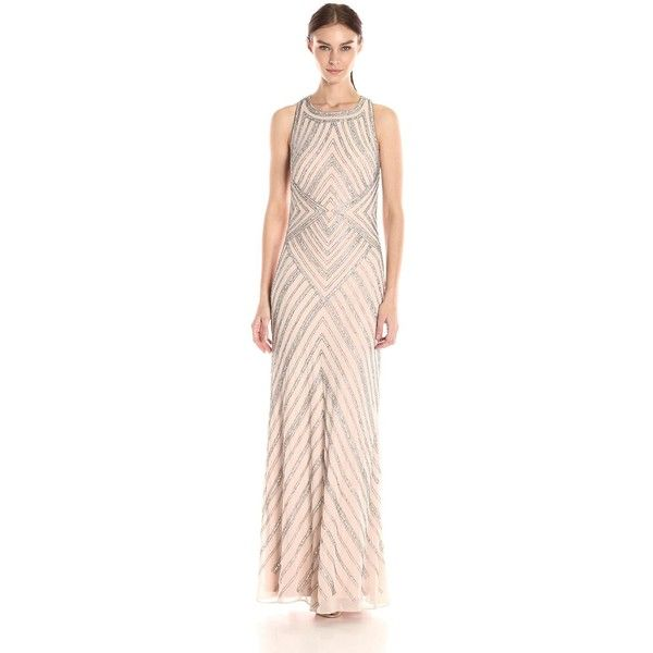 Adrianna Papell Women\'s Halter Geo Beaded Gown ($349) ❤ liked on ...