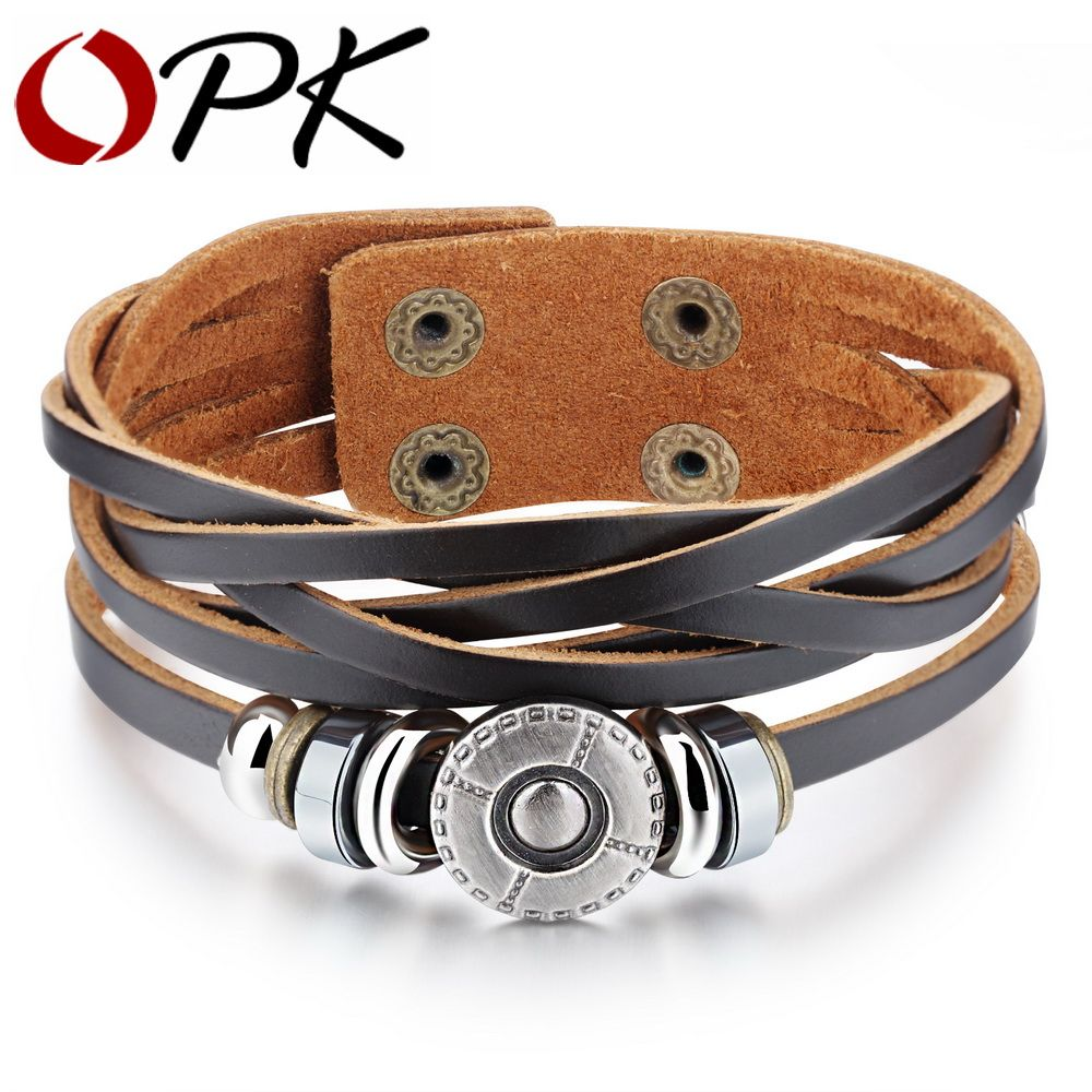 Men/'s Vintage multicouche en cuir Infinity symble Cuff Bangle Bracelet Bracelet
