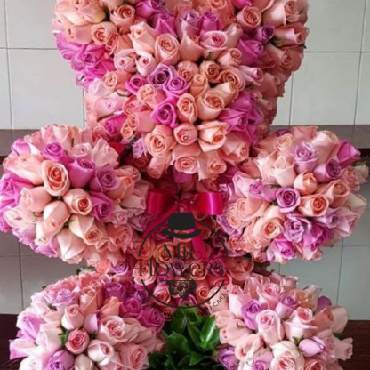 550 Rosas Rosa En Forma De Oso Figuras Con Flores Rosas