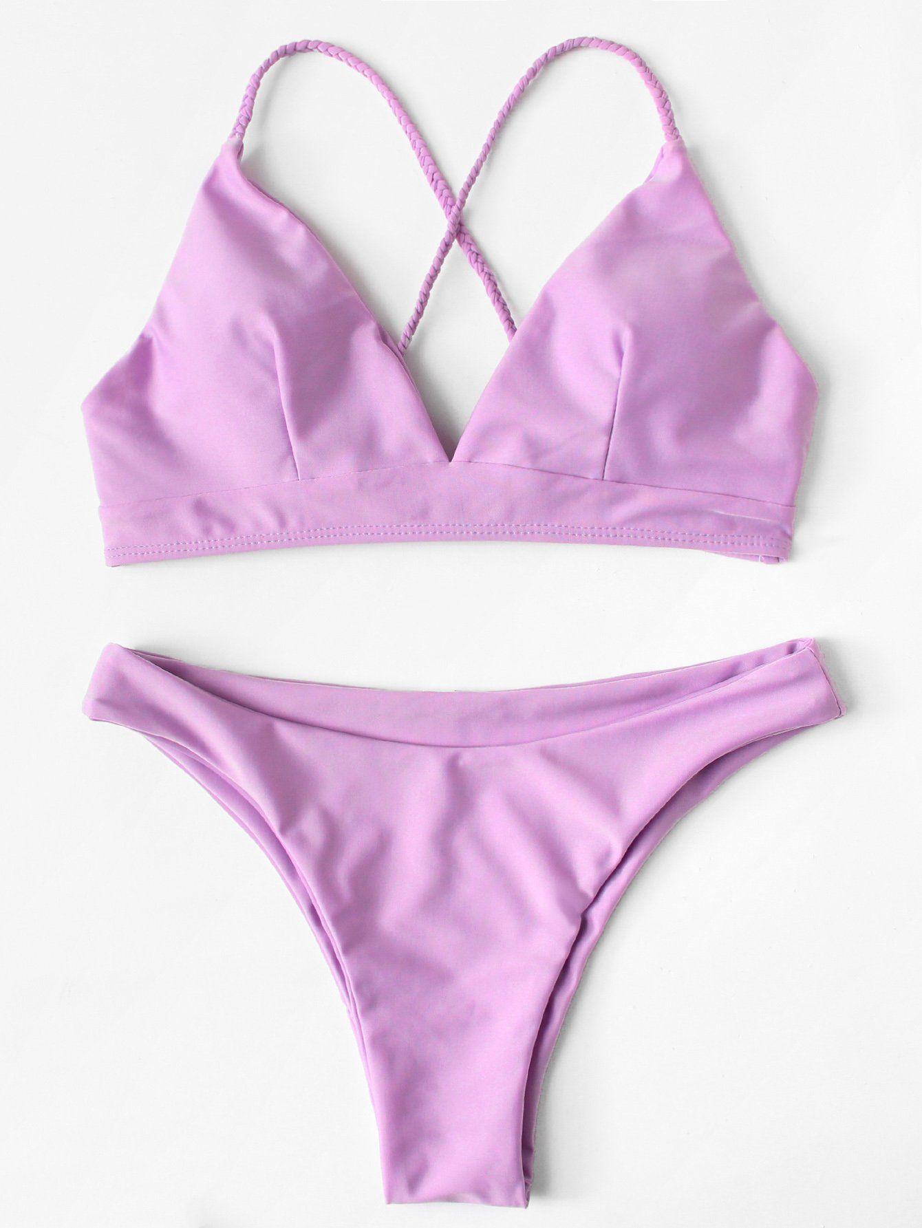 10062fc50c45f Crisscross Knot Back Solid Bikini SetFor Women-romwe