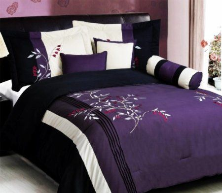 7 PC Modern PURPLE BLACK Embroidered Comforter Set - schlafzimmer set modern