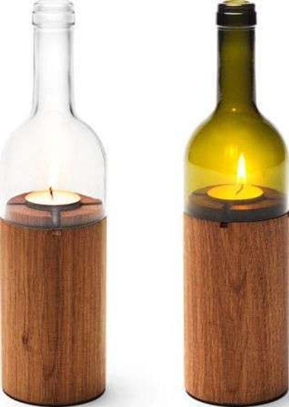Dark Stained Natural Branch Candle Wine Bottle Tea Light Holder #stainedwood