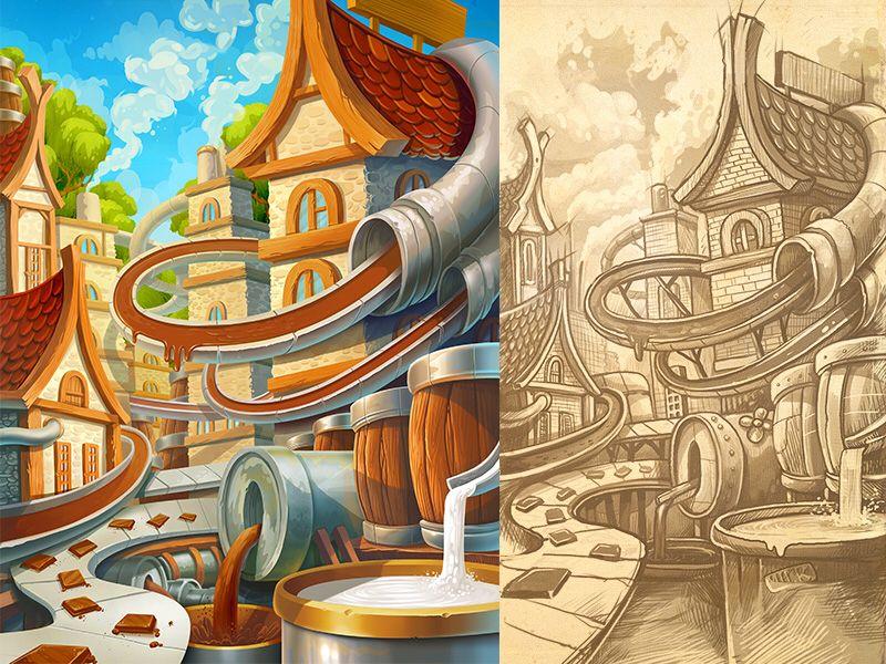 Chocolate Factory Creative drawing, Chocolate factory, Art