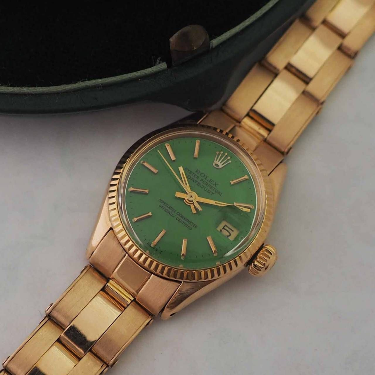 Rolex Rose Gold Green Stella Dial Datejust Automatic