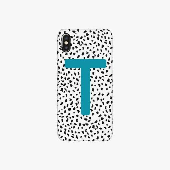 Dalmatian Print Blue Personalised Letter Phone Case