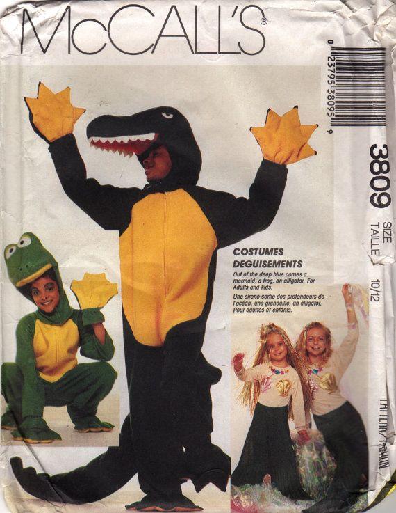 McCalls 3809 1980s Boys Girls COSTUME Pattern Frog Alligator ...