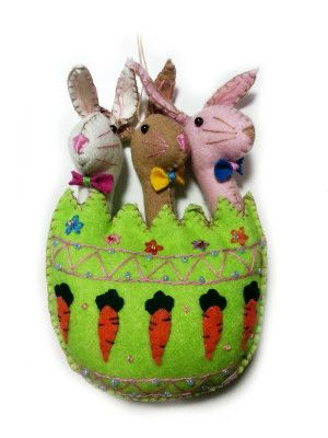 Adorable Bunnies Rabbit in Easter Egg Spring Decorated Wool Felt Appliqued Ornament | Little Handcrafts