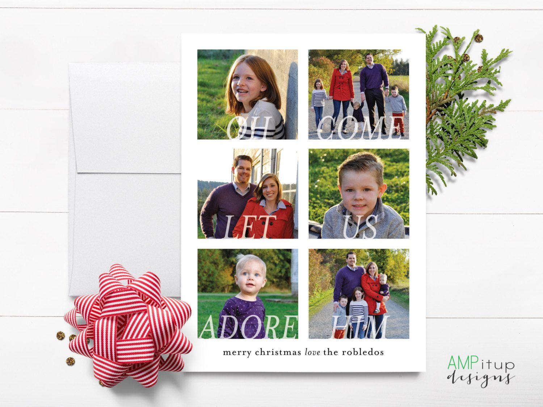 Custom Religious Photo Christmas Card Oh Come Let Us Adore Him