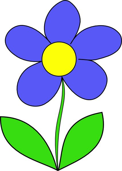 Blue Flower 1 Cartoon Flowers Flower Clipart Flower Drawing