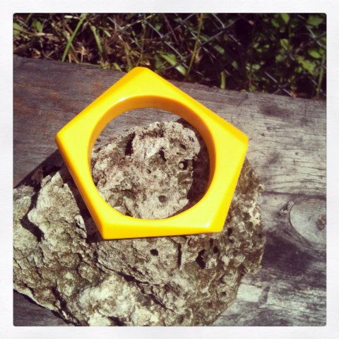 Vintage Lemon Yellow Chunky Plastic Geometric Mod by VBombVintage, $19.00