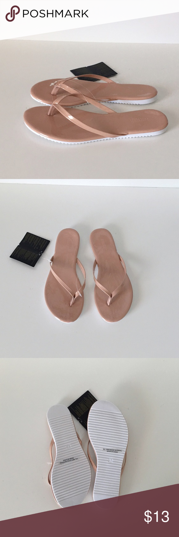 """NWT - BLUSH NUDE PATENT FLIP FLOPS NWT - Blush nude patent flip flop thong sandals with white soles. All man made materials. *Approx .25""""heel. Perfect comfy and stylish sandal that beautifully elongates your legs and goes with any outfit! Never worn, only tried on. Sold as is. Final Sale.   ❌NO TRADES/Offsite Transactions/Other Websites ✅All Price Negotiations are handled strictly through the OFFER Feature Only. Lowball offers will be ignored Shoes Sandals"""