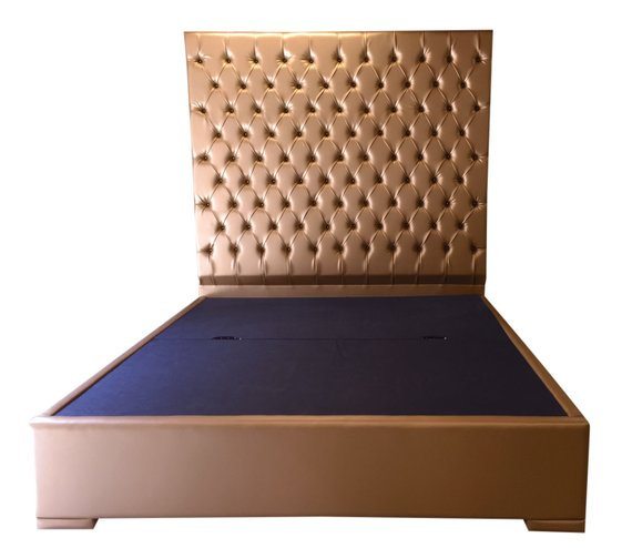 Extra Tall Bed Tufted Bed Upholstered Bed Gold Faux Leather King