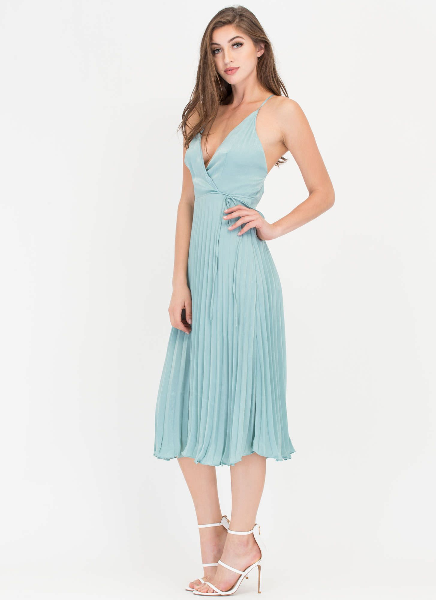 frontal side of Sharon club outfit-Cross Me Plunging \'N Pleated ...