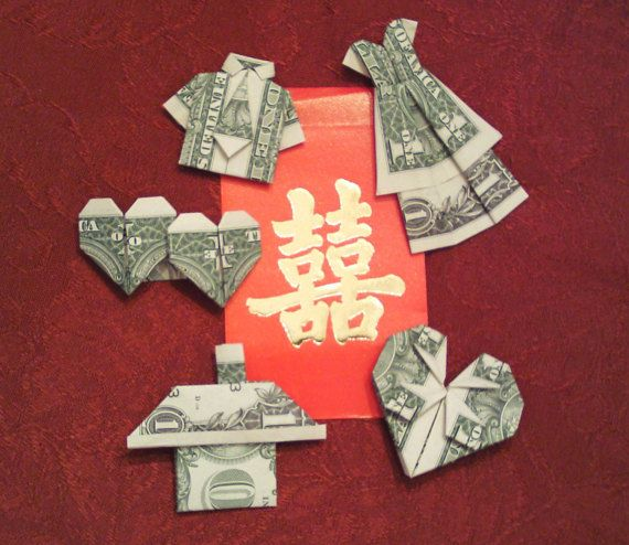 Dollar Bill Origami Christmas Tree: Set Of 5 Origami Money One Dollars Bill